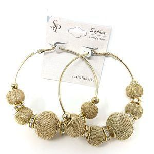 Jewelry - New Large Gold Ball Hoops Earrings Mesh Diamond